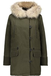 Maje Faux Fur Trimmed Cotton Blend Hooded Coat Army Green