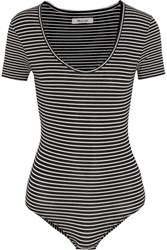 Madewell Striped Stretch Cotton Blend Jersey Bodysuit Black