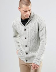 Brave Soul Shawl Neck Cardigan In Cable Knit Grey