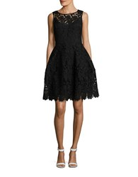 Tommy Hilfiger Sleeveless Lace Overlay Fit And Flare Dress Black