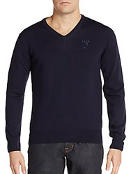 Versace Wool V Neck Sweater Navy