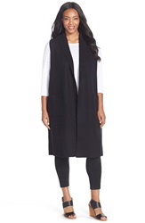 Eileen Fisher Boiled Wool Long Vest Plus Size Black
