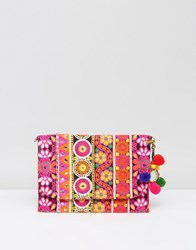 Park Lane Embroidered Clutch Bag With Pom Pom Detail And Detachable Strap Pink