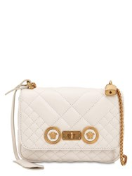 Versace Medium Quilted Leather Shoulder Bag White