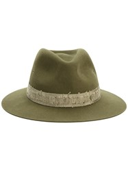 Maison Michel Wool Felt Hat With Distressed Ribbon Women Wool Felt S Green
