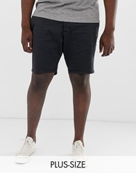 French Connection Plus Slim Fit Peached Cotton Chino Shorts Navy
