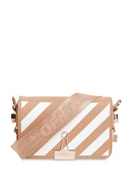 Off White Mini Diag Printed Leather Shoulder Bag Nude