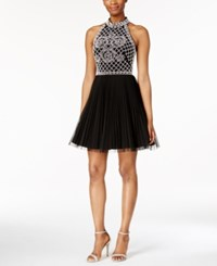 Xscape Evenings Xscape Beaded Halter Cocktail Mini Dress Black