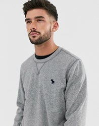 Abercrombie And Fitch Icon Logo Lightweight Crewneck Sweatshirt In Grey Marl
