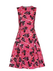 Oscar De La Renta Floral Print Cotton Blend Dress Fuchsia