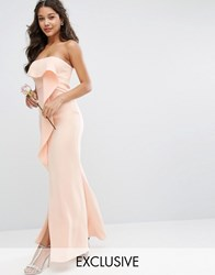 Jarlo Bandeau Frill Front Maxi Dress Nude Pink