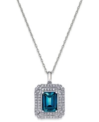 Macy's Blue Topaz 2 5 8 Ct. T.W. And Diamond 1 3 Ct. T.W. Pendant Necklace In 14K White Gold