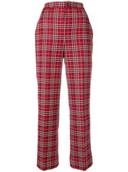 Moncler Checked High Waist Trousers Red