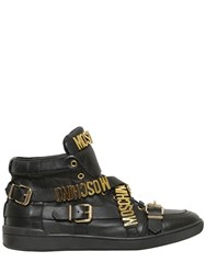 Moschino Logo Lettering Leather High Top Sneakers