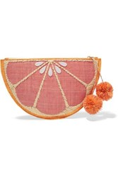 Kayu Pomelo Woven Straw Pouch Pink