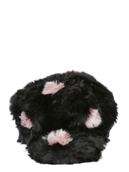 Kreisi Couture Faux Fur Polka Dot Hat With Visor Black Pink