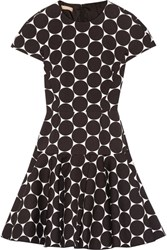 Michael Kors Collection Polka Dot Cotton And Silk Blend Matelasse Mini Dress Black