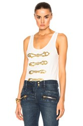 Balmain Pierre Sleeveless Tank Top In White