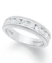 Macy's Diamond Ring 14K White Gold Certified Diamond Milgrain Anniversary Band 1 Ct. T.W.