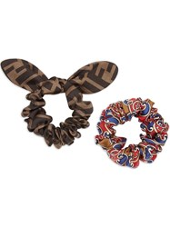 Fendi Set Of Two Hairbands Red