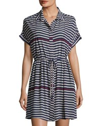 19 Cooper Short Sleeve Striped Dress Blue Pattern