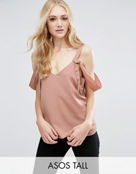 Asos Tall Satin Cami With Cold Shoulder Tie Detail Pink