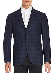 Brunello Cucinelli Plaid Wool Blend Jacket Navy