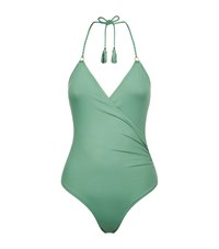 Lazul Wrap Front Swimsuit Female Green