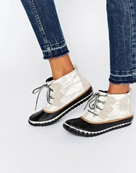 Sorel Out N About Canvas Lace Up Ankle Boots Sea Salt Multi