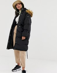 Qed London Oversized Padded Parka With Hood Black