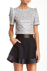 Stella And Jamie Studded Puff Sleeve Crop Tee Gray
