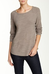 Sweet Romeo Seed Stitch Ballet Neck Sweater Brown