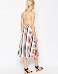 Asos Strappy Back Stripe Midi Sundress Navy