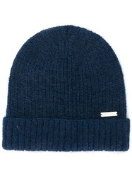 Woolrich Ribbed Knit Beanie Blue