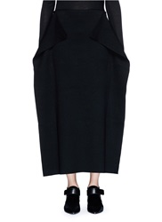Ms Min Drape Flap Wool Blend Knit Skirt Black