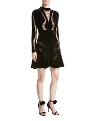 Elie Saab Long Sleeve Lace Inset Velvet Cocktail Dress Black