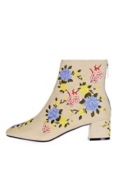 Topshop Blossom Embroidered Boots Natural