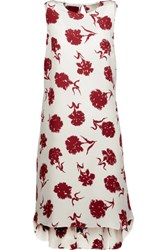 Oscar De La Renta Printed Silk Crepe Chine Mini Dress Ivory