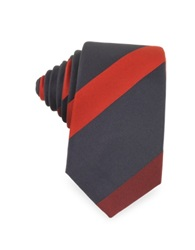Laura Biagiotti Diagonal Stripe Silk Narrow Tie Dark Blue Red