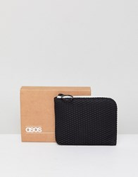 Asos Design Zip Around Wallet In Black Mesh With White Zip