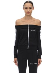 Palm Angels Off The Shoulder Acetate Track Jacket Black