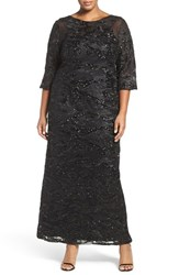 Brianna Plus Size Women's Sequin Embroidered Illusion Sleeve Gown