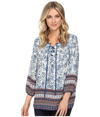Christin Michaels Almond Print Top Cream Navy Women's Clothing Multi