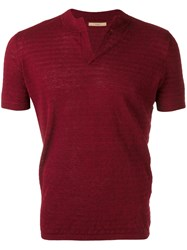 Nuur Split Neck Short Sleeve Sweater Men Cotton Linen Flax 50 Red