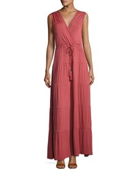 Neiman Marcus Faux Wrap Tiered Maxi Dress Rust