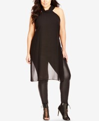 City Chic Plus Size Sheer Scarf Neck Tunic Top Black