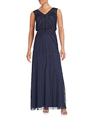 Aidan Mattox V Neck Sleeveless Beaded Gown Blue