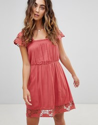 Pepe Jeans Wendy Lace Hems Dress Red