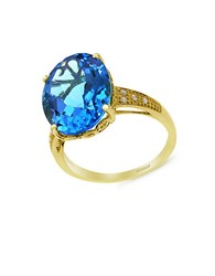 Effy 14K Yellow Gold Blue Topaz And Diamond Ring Blue Topaz Gold
