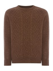 Howick Men's Seeward Cable Crew Neck Jumper Mink
